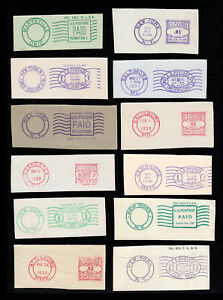 US-CUT-EARLY-POSTAGE-PERMIT-amp-METER-DOUBLE-RING-LOT-OF-12-1930S-1950S