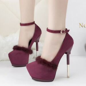 Stiletto Shoes 9556 en 15 cuir Decolte Vin fourrure Winter confortable 6WanaxB