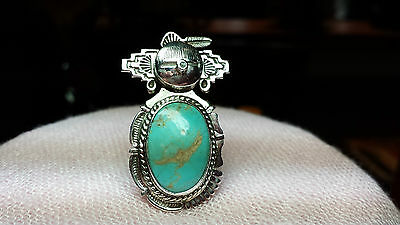 BENNIE RATION Sterling Turquoise KACHINA Ring - Size 7