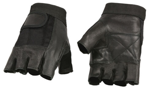 Truckers or Weightlifting Men/'s Leather /& Mesh Fingerless Glove for Motorcycle