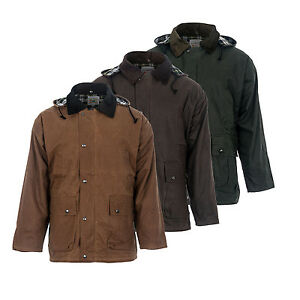 New Mens Wax Coat Waterproof Waxed Cotton Jacket 3 Colours
