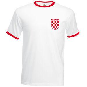 Retro Croatia Football T Shirt World Croatian Cup Vintage Euro Check Men L254e