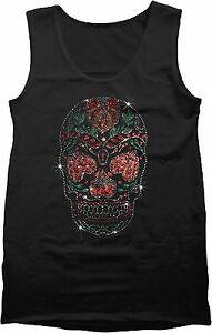Rhinestone-Sugar-Skull-Mens-Black-Tank-Top-Heart-Eyes-Candy-Skull-Small-to-4XL