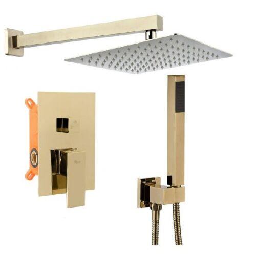 Design Set Unterputz Regendusche Armatur Einhandmischer BENTO GOLD