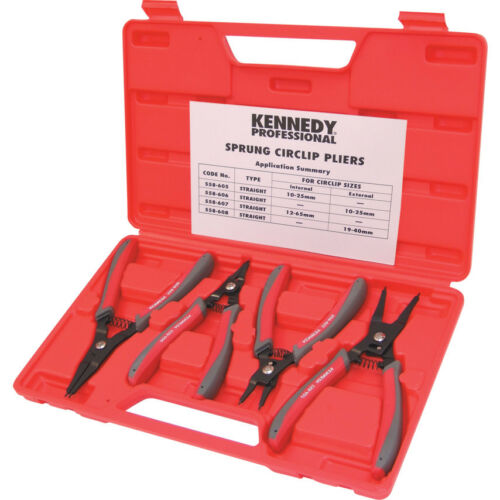 Kennedy 10-65Mm Sprung Circlip Plier Set 4-Pce