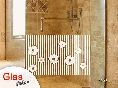 Glasdekor Fensterfolie Aufkleber Sichtschutz Dusche Tür Retro Blumen Bad