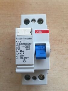 Details about ABB F372, 40A, 30mA rcd, double pole, 240v, mcb circuit on