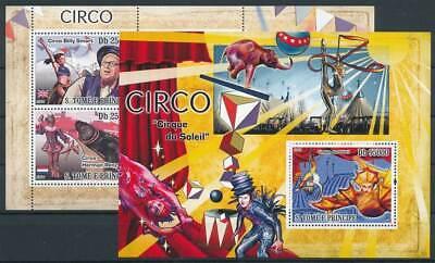 263665) Sao Tomé Und Principe Klbg. Nr.3629-32+block 660** Zirkus Dauerhaft Im Einsatz