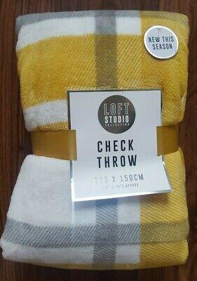 New Grey Ochre Yellow Mustard Checked Check Super Soft Plush Throw Sofa Blanket Ebay