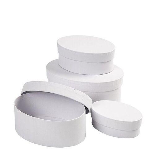 oval 4er Set groß Schachteln aus weißem Karton