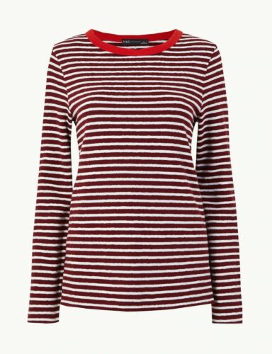 M/&S Cotton Red White Striped T shirt Blouse Top Tee 8 10 12 14 16 18 20 22 24
