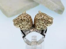 DIAN MALOUF Sterling Silver 14K Gold Double Headed Leopard Ring OOAK 32g