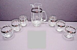 Mid-Century-Hand-Blown-Silver-Band-Juice-Pitcher-Roly-Polys-Glasses-Serving-Set