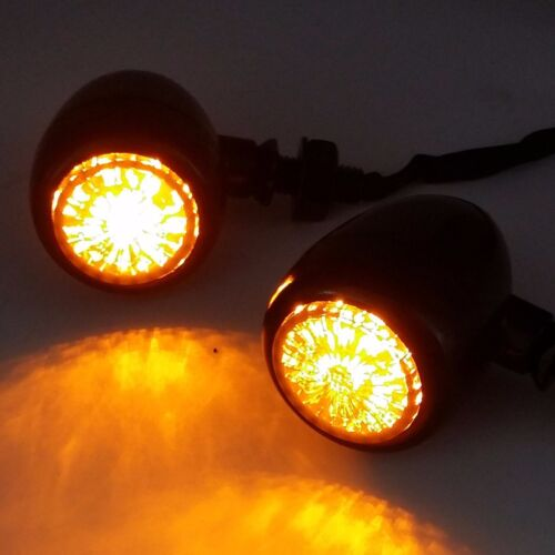BLACK LED Bullet TURN SIGNALS For Honda Kawasaki Suzuki Yamaha Cruiser CB VTX VN