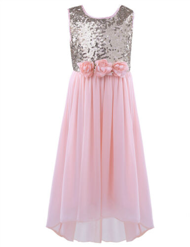 New Sequin Tulle Bridesmaid Princess Wedding Girls Dress Party Kids Clothes