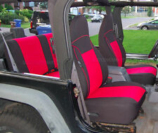 1998-1999 Jeep Wrangler TJ neoprene seat cover Full Set Front+Rear Red TJ127R