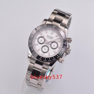 39mm-Bliger-weiss-Zifferblatt-Luminous-316L-Stahl-solides-Automatisch-uhr-watch