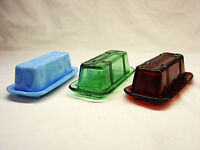 Criss Cross Depression Style Glass Butter Dish - Select Milk Blue, Red, Or Green