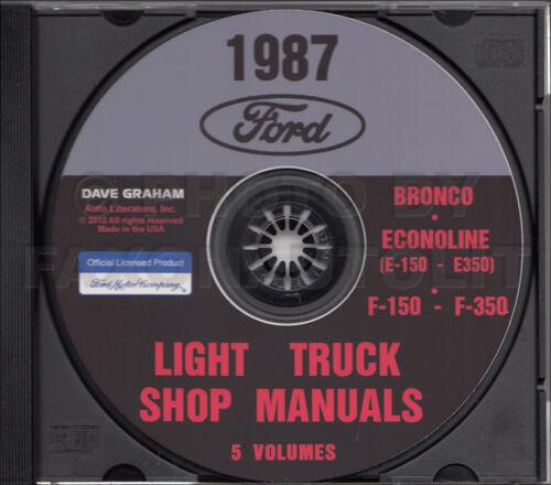 1987 Ford Truck Shop Manual 5 Book Set on CD F150 F250 F350 Bronco Van Service