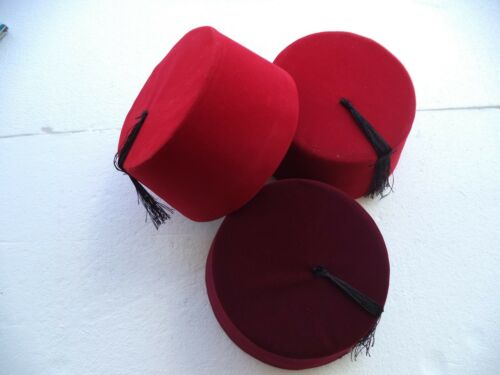 Ottoman Wear 3 Colors Genuine Fez,Fes Authentic Turkish-Ottoman Hat,Tarboosh
