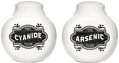 Sourpuss Arsenic & Cyanide Shaker Set Halloween Horror Retro NEW Salt Pepper