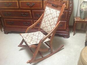 Image Is Loading Unique Incredible Antique Victorian  Folding Rocker Sewing Nursing