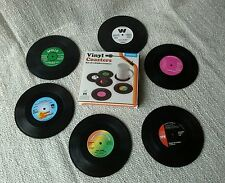 6 Vinyl Coasters Retro 45RPM Record Cup Drinks Holder Mat Tableware Placemat Set