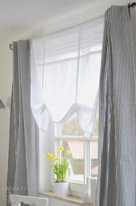 Gardine-Vorhang-Set-100x250-cm-2-Stueck-Curtain-Shabby-Landhaus-Franske-Grau-Weiss