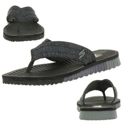 Details zu NEU SKECHERS Herren Sandalen Schwarz Sandaletten Sommerschuhe Strandschuhe