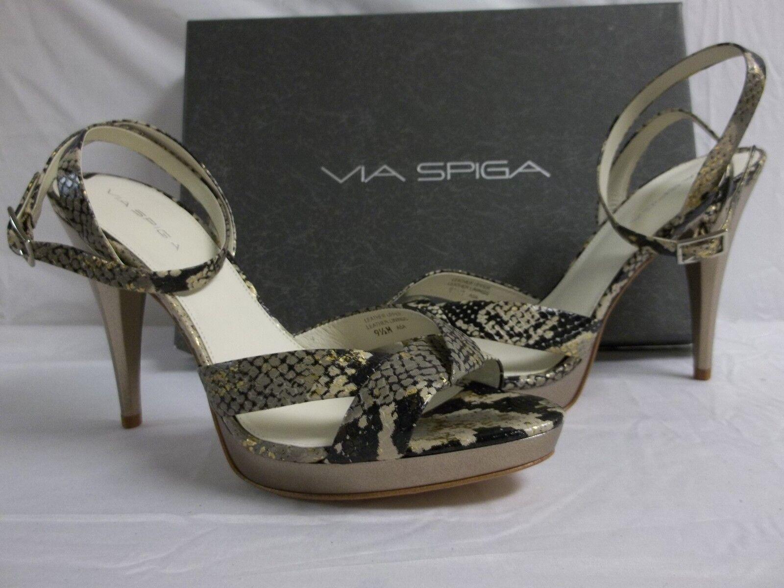 Via Spiga Spiga Spiga tamaño 9.5 M Lyra Camel Cuero De Pitón Zapatos Puntera abierta Tacones nuevo para mujer  autorización oficial