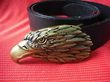 VULTURE GOLDEN BOLD EAGLE HEAD HAWK FALCON RAPTOR KITE GOLD BUCKLE LEATHER BELT