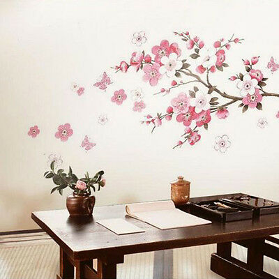 Cherry Blossom Flower Butterfly Removable Wall Sticker Wall Decor New