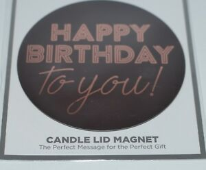 BATH BODY WORKS BLACK HAPPY BIRTHDAY TO YOU MAGNET LARGE 3 WICK CANDLE LID DECOR