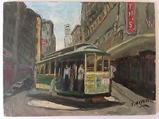 Mid-Century San Francisco California Cable Car Woolworth Powell Oil Painting Art
