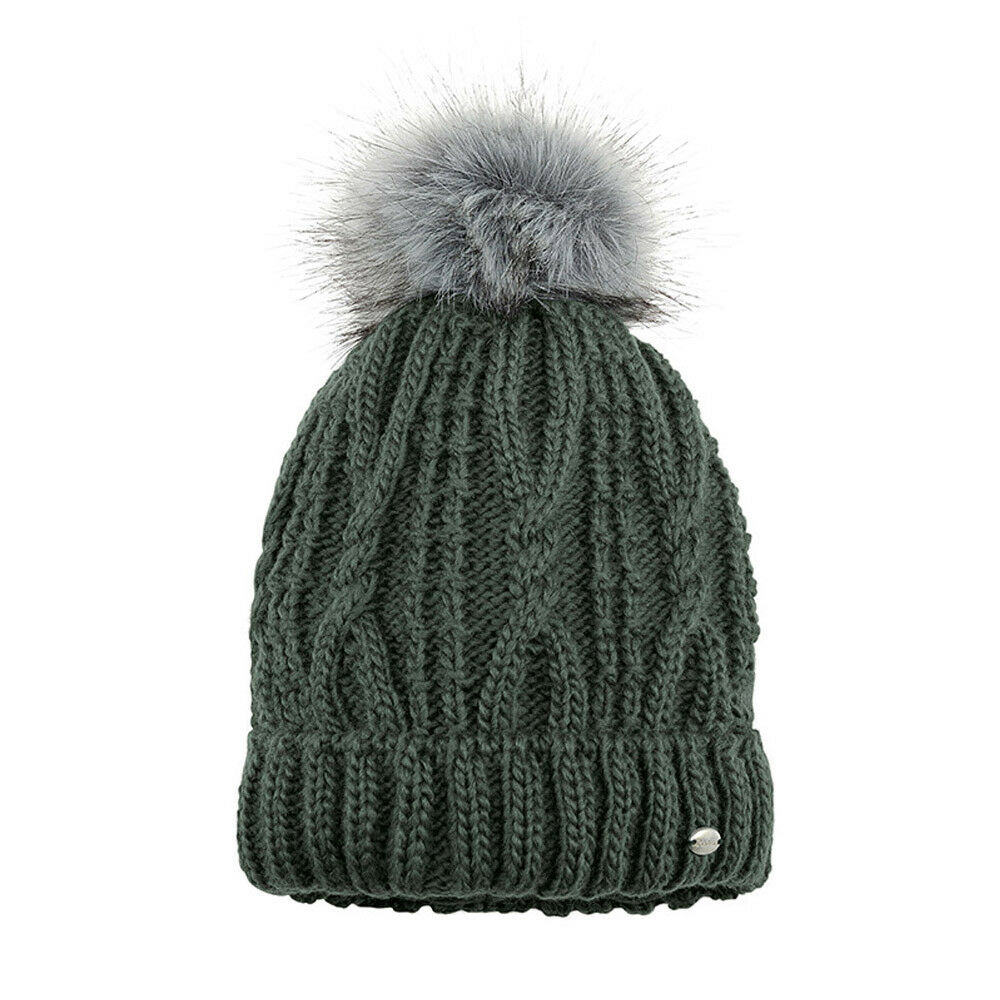PIKEUR FAUX FUR BOBBLE HAT WINTER KNITTED POM POM HAT