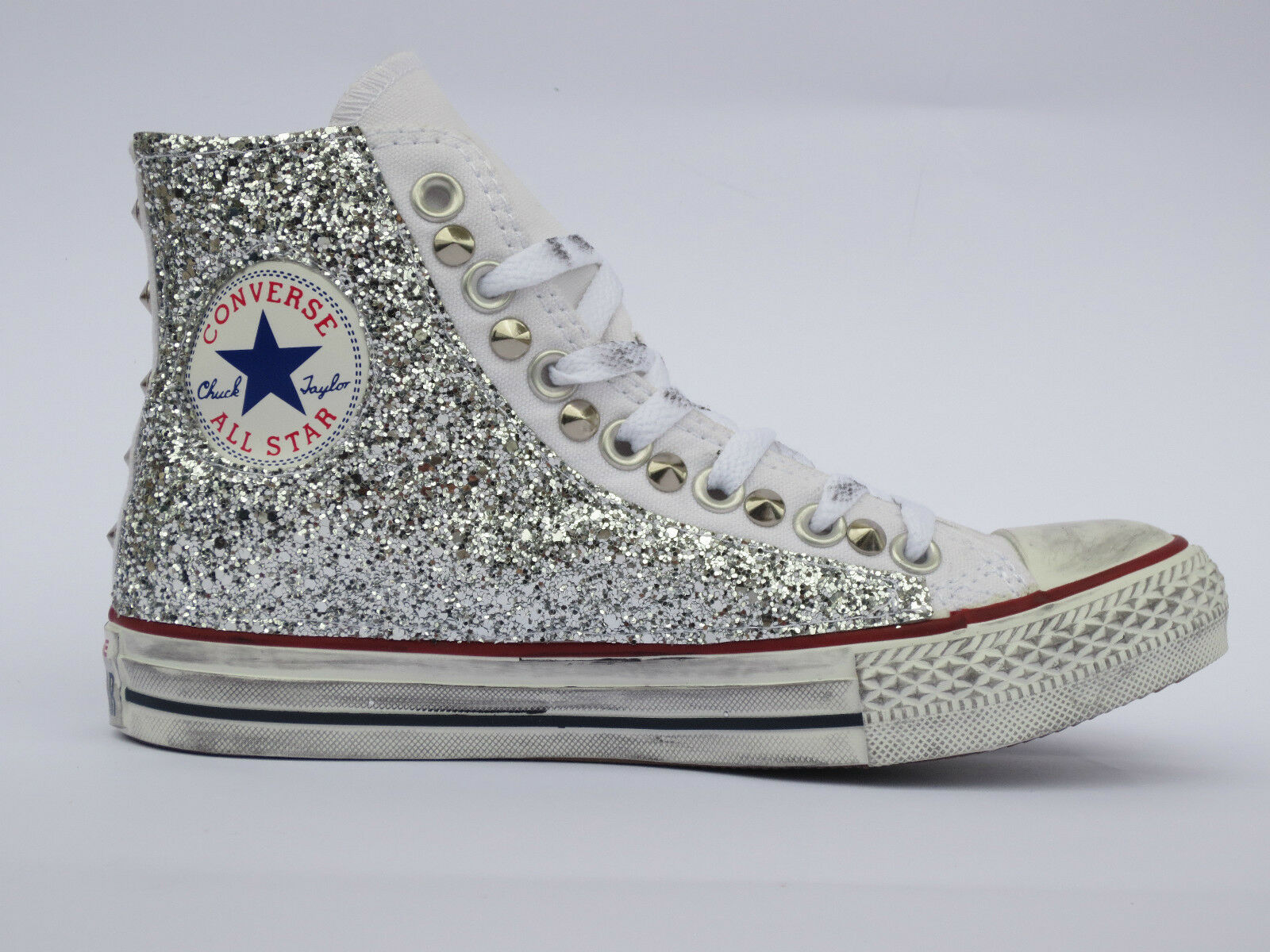 Converse all  star borchie Hi bianco optical white  all glitter argento artigianale d1d22d