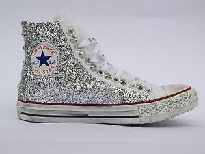 converse all star glitter argento