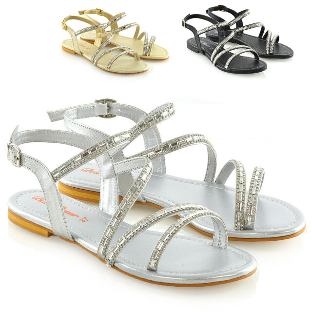 1c5494fc916 Womens Strappy Flat Sandals Ladies T-Bar Embellished Diamante Sparkly Shoes  Size