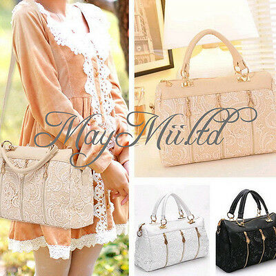 Fashion Women Lace Leather Satchel Tote Hobo Handbag Shoulder Bag
