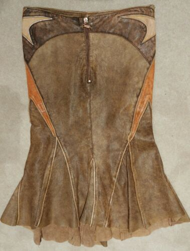 Roberto Cavalli Distressed Brown Leather Fit And F