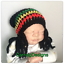 Redoutable Baby Rasta Jamaica Bob Marley Slouch Beanie hat handmade Photo Prop