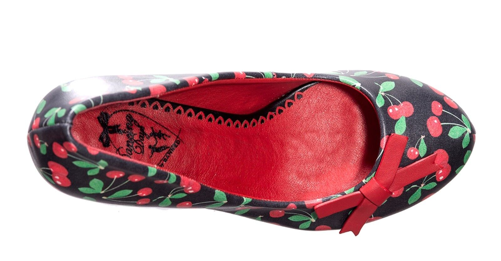 Banned style NEW nero red cherry print high heel vintage style Banned court shoes sizes 3-8 7226ad