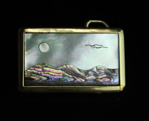 Vintage Gold Tone Mother of Pearl Inlay Onyx Belt Buckle Oval//Rectangular 60 mm