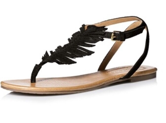 Corso Como Cayman Black Leather Feather Flat Sandal Size 8.5 New
