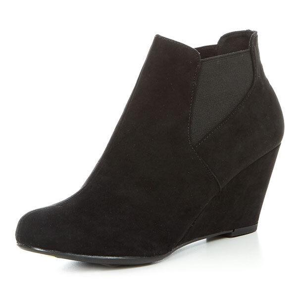 6,5 Cm Noir Faux Daim COMPENSES Bottines Femmes Chaussures Taille 33 Sous taille
