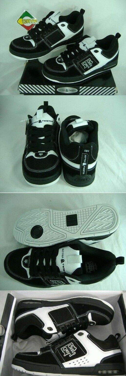 New Mens 11 Bitter & Twisted Ryster Black White Leather Skate Shoes