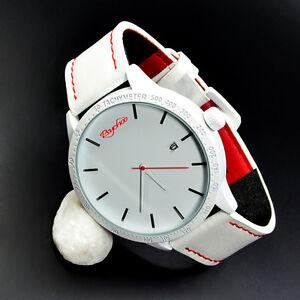 xxl psychoo herren armbanduhr weiss rot datumsanzeige elegant sportlich uhr ebay. Black Bedroom Furniture Sets. Home Design Ideas