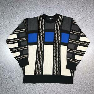 Vintage-90s-CARLO-COLUCCI-Cosby-Style-Mens-Sweater-XL-3D-Knit-Jumper