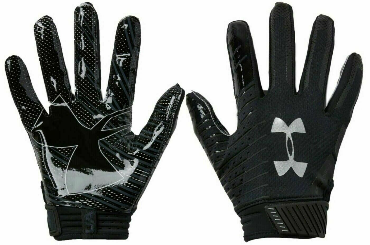 //Metallic Silver Adult Large L Under Armour Mens Sideline Gloves Black 001