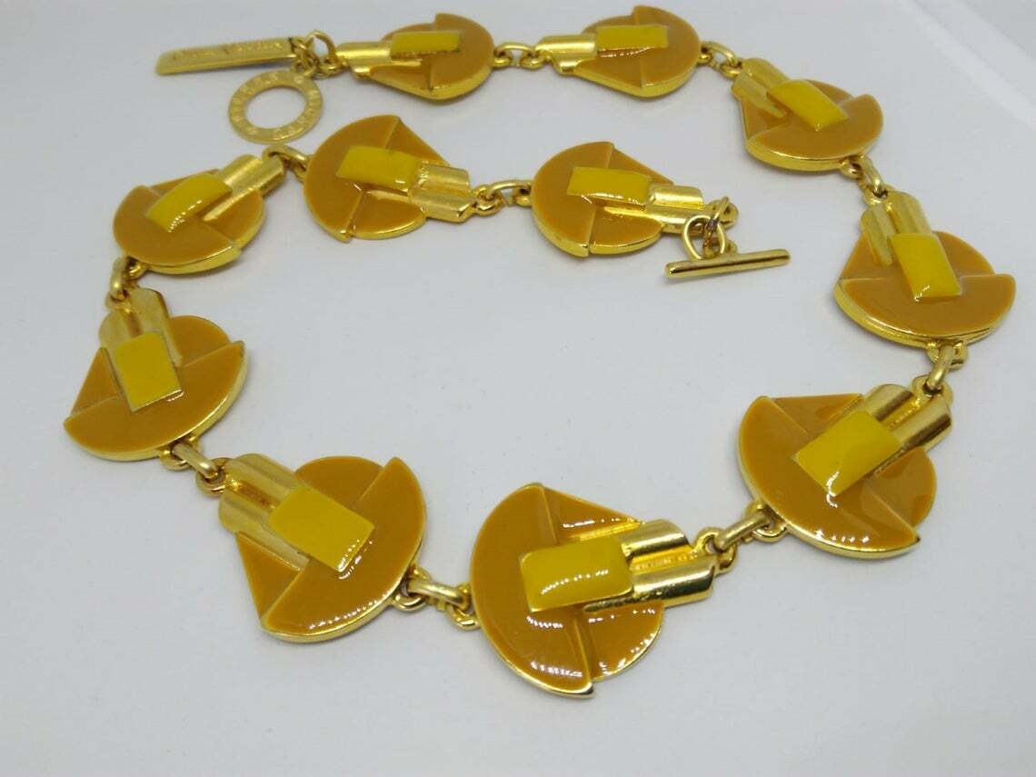 Vintage Beautiful Necklace Vintage Years 70/80 Metal Enamel and Gold Color-show original title